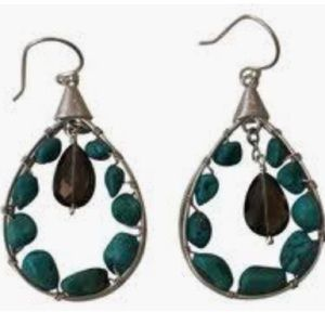 Silpada Turquoise and smoky quartz earrings